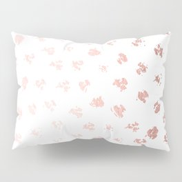 Rose Gold Pink Polka Splotch Dots on White Pillow Sham