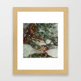 Gray Green Marble Glitter Gold Metallic Foil Style Framed Art Print