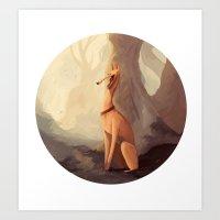 greyhound Art Prints featuring GREYHOUND by GentleSquid