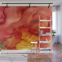 Red Sunset Abstract Ink Painting Red Orange Yellow Flame Wall Mural