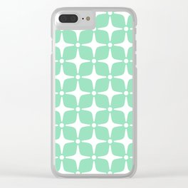 Mid Century Modern Star Pattern Mint Green 2 Clear iPhone Case
