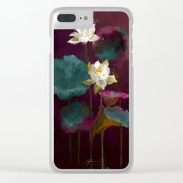 Lotus in Violets. Clear iPhone Case