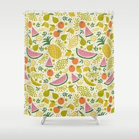 fruit Shower Curtains featuring Fruit Mix by Anna Deegan