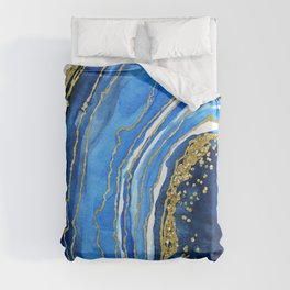 Cobalt blue and gold geode in watercolor (2) Duvet Cover
