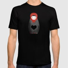 Matryoshka paperdoll Heart SMALL Black Mens Fitted Tee