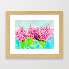 Strawberry Finch & Hydrangeas Framed Art Print