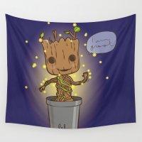 groot Wall Tapestries featuring Groot by Lalu - Laura Vargas