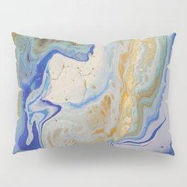 Blue and Mustard Fluid Art Pillow Sham
