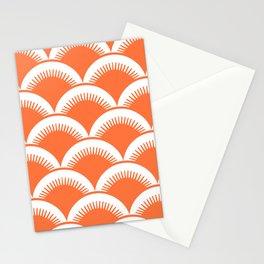 Japanese Fan Pattern Orange Stationery Cards