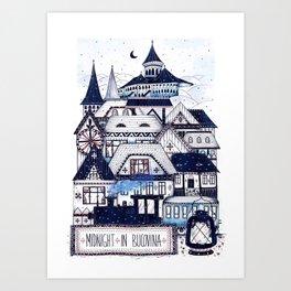 Midnight in Bucovina Art Print