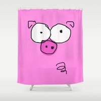 pig Shower Curtains featuring Pig by Frances Roughton