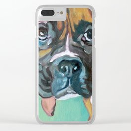 Drako the Rescued Boxer Clear iPhone Case