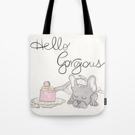 Hello, Gorgeous : Sweet Dreaming Frenchie French Bulldog Tote Bag