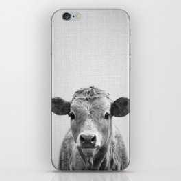 Cow 2 - Black & White iPhone Skin