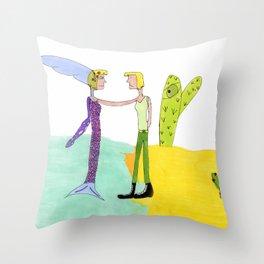 Meeting Myself Throw Pillow