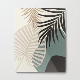 Minimal Tropical Palm Leaf Finesse #2 #tropical #decor #art #society6 Metal Print