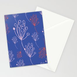 floral blue chalk contemporary Stationery Cards
