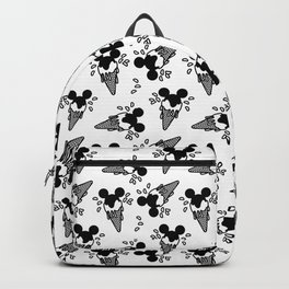 B&W Mickey Icecream Splash Pattern Backpack