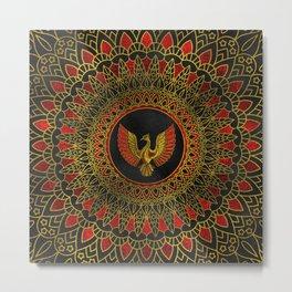 Gold and red Decorated Phoenix bird symbol Metal Print