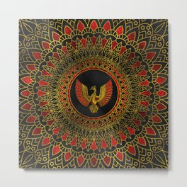 Gold and red Decorated Phoenix bird symbol Metal Print