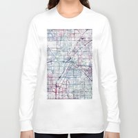 las vegas Long Sleeve T-shirts featuring Las Vegas map by MapMapMaps.Watercolors
