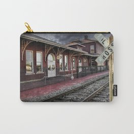 Old Train Station with Crossing Sign in Gutherie Oklahoma No.0840 A Fine Art Railroad Landscape Phot Carry-All Pouch