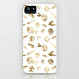 Gold Roses Rosette Pattern Golden on White iPhone Case