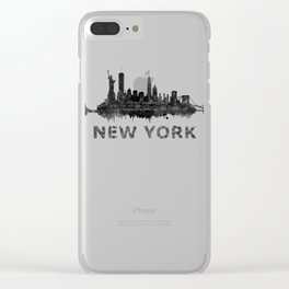 NY New York City Skyline NYC Black-White Watercolor art Clear iPhone Case