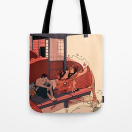 Tell a Dragon Colorful Stories Tote Bag
