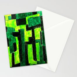 Three Green Puzzle Stationery Cards