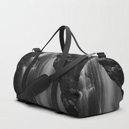 Black and white waterfall long exposure Duffle Bag