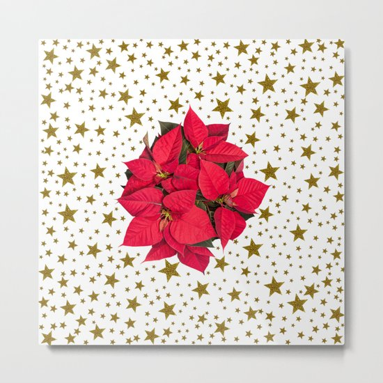 Red Christmas flower and sparkly gold stars Metal Print