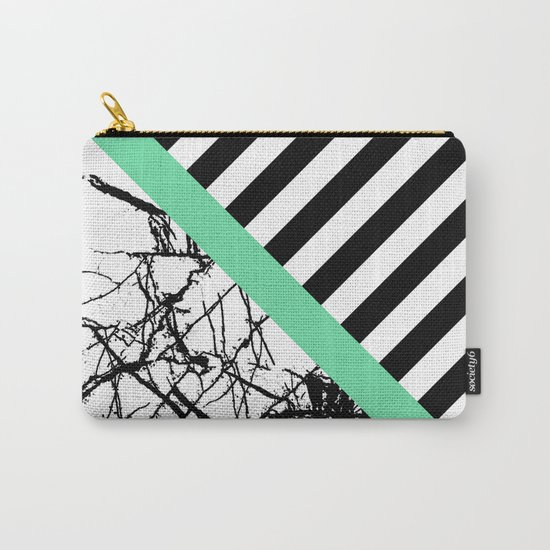 Stripes N Marble - Black and white geometric stripes and marble pattern, bold on green background Carry-All Pouch