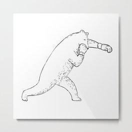 Kodiak Bear Left Straight Punch Drawing Metal Print