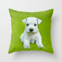 White Schnauzer Puppy Throw Pillow