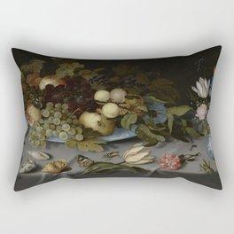Balthasar Van Der Ast - Still Life With Fruit And Flowers Rectangular Pillow