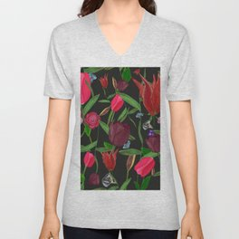 Red, Pink and Claret Red Colored Tulips With Roses and Lily Elegant Pattern Unisex V-Neck