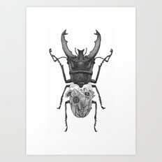 Stag Beetle with Mountain Scene Art Print