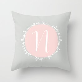 Garland Initial N - Grey Throw Pillow