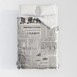 Black And White Collage Of Grunge Newspaper Fragments Duvet Cover