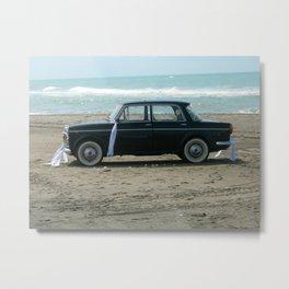 Weddings car on the  beach Metal Print