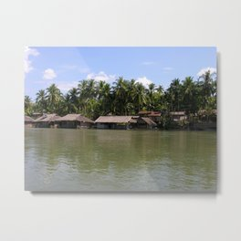 Village on the banks of the Mekong River, Laos Metal Print