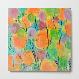 Abstract Bright Colorful Spring Flowers Metal Print