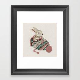 Cozy Bunny and Chipmunk Framed Art Print