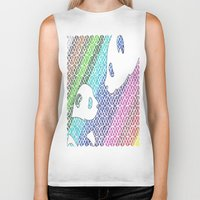pandas Biker Tanks featuring colourful pandas  by Dal Sohal