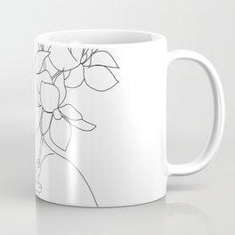 Minimal Line Art Woman with Orchids Coffee Mug