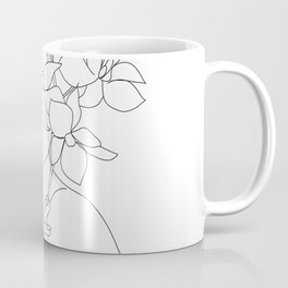 Minimal Line Art Woman with Orchids Coffee Mug