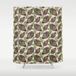 Watercolor Pine Cone Pattern Shower Curtain