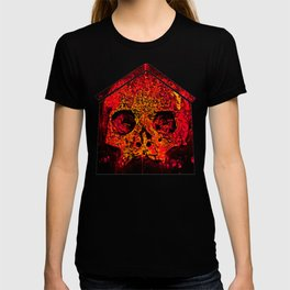 skull on gravestone splatter watercolor red edgy ember T-shirt