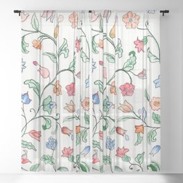 Tiny Floral Twines Sheer Curtain